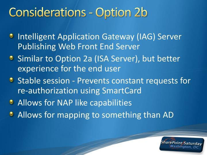 Considerations - Option 2b