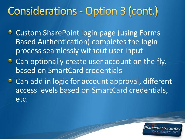 Considerations - Option 3 (cont.)