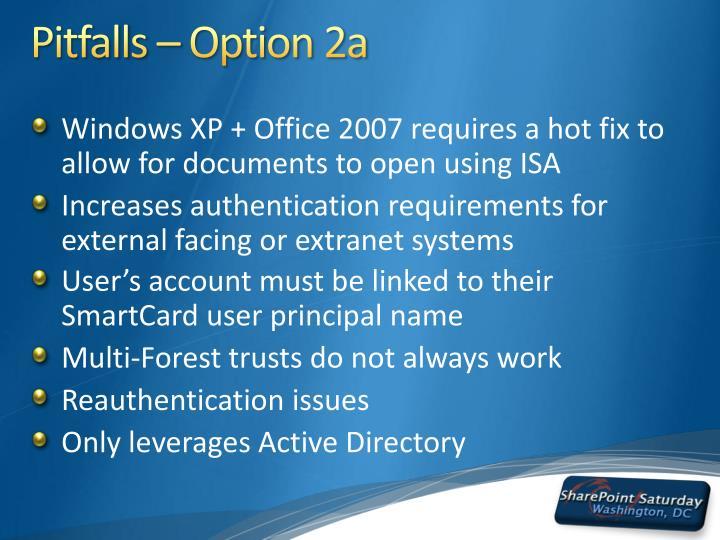 Pitfalls – Option 2a