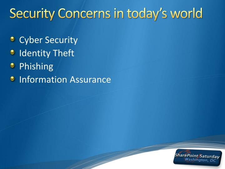 Security Concerns in today's