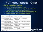 adt menu reports other1