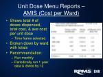 unit dose menu reports amis cost per ward