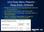 unit dose menu reports drug cost amount