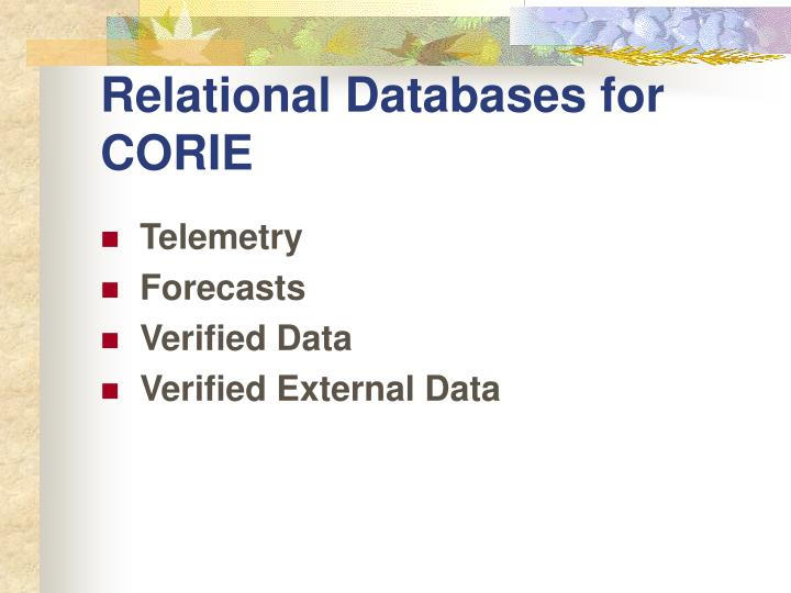 relational databases for corie n.