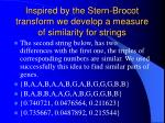 inspired by the stern brocot transform we develop a measure of similarity for strings