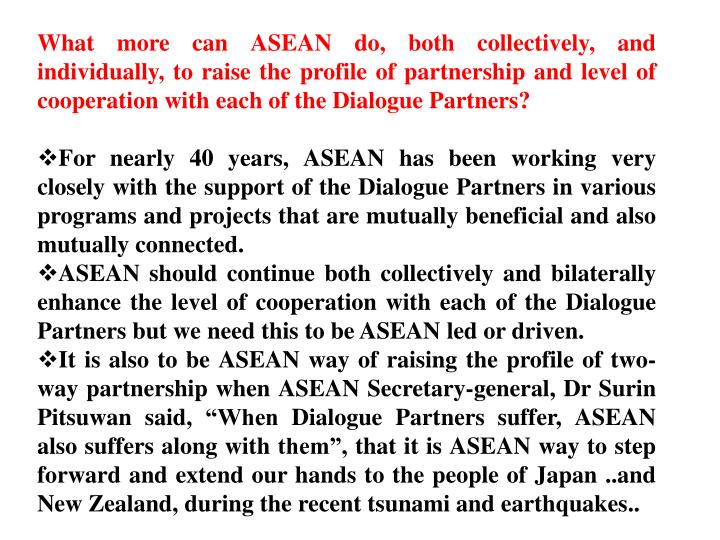 What more can ASEAN do, both collectively, and individually, to raise the profile of partnership and level of cooperation with each of the Dialogue Partners?