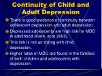 continuity of child and adult depression