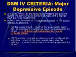 dsm iv criteria major depressive episode