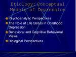 etiology conceptual models of depression