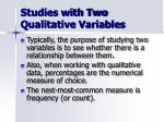 studies with two qualitative variables