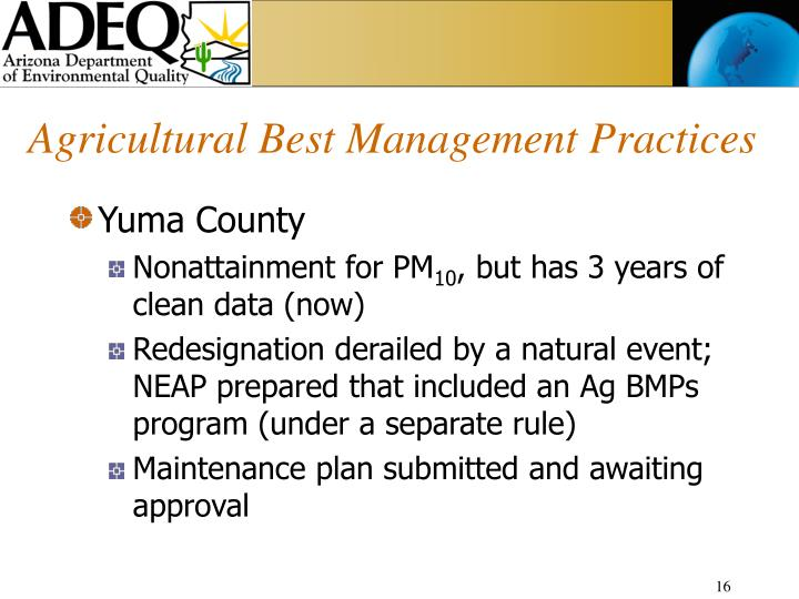 Agricultural Best Management Practices