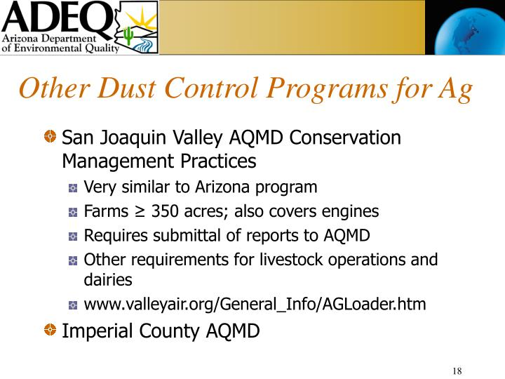 Other Dust Control Programs for Ag