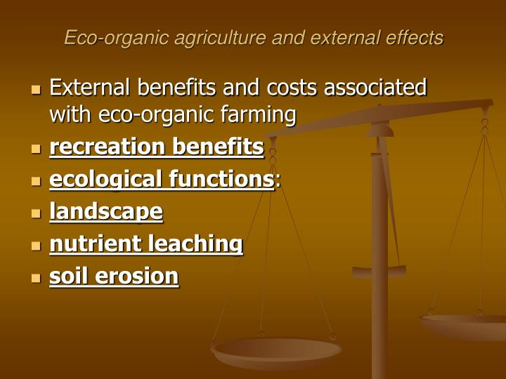 Eco-organic agriculture and external effects
