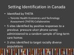 setting identification in canada