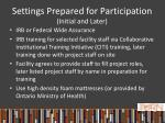 settings prepared for participation initial and later