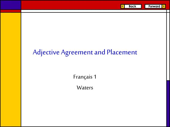 adjective agreement and placement n.