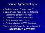 gender agreement pg 591
