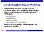 nara persistent archive prototype