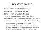 design of site decided