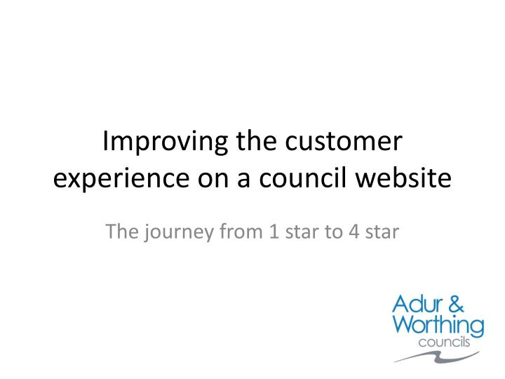 improving the customer experience on a council website n.