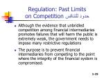 regulation past limits on competition