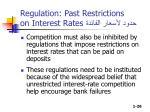 regulation past restrictions on interest rates