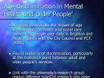 age discrimination in mental health and older people