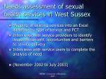 needs assessment of sexual health services in west sussex