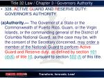 title 32 law chapter 3 governors authority
