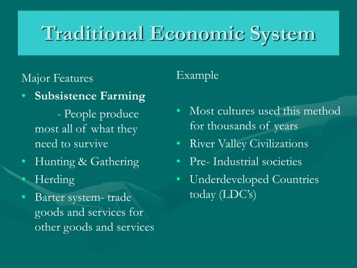 traditional economic system n.