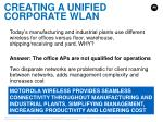 creating a unified corporate wlan