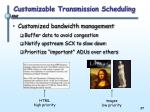 customizable transmission scheduling