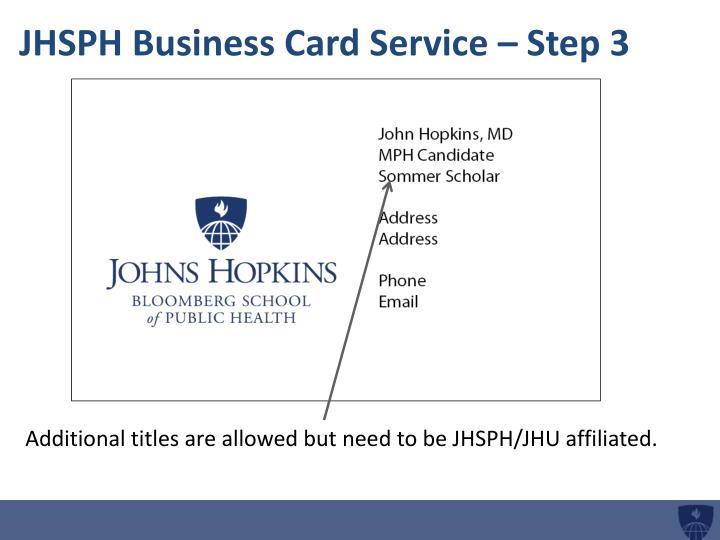 Jhsph business card service step 3