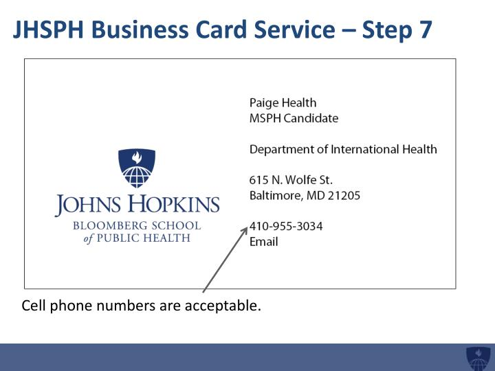 JHSPH Business Card Service – Step 7
