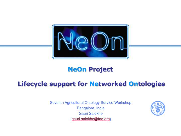 neon project lifecycle support for ne tworked on tologies n.