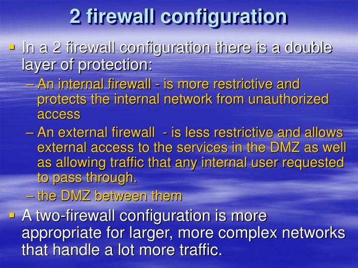 2 firewall configuration