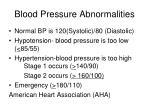 blood pressure abnormalities