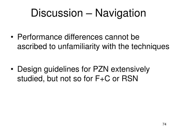 Discussion – Navigation