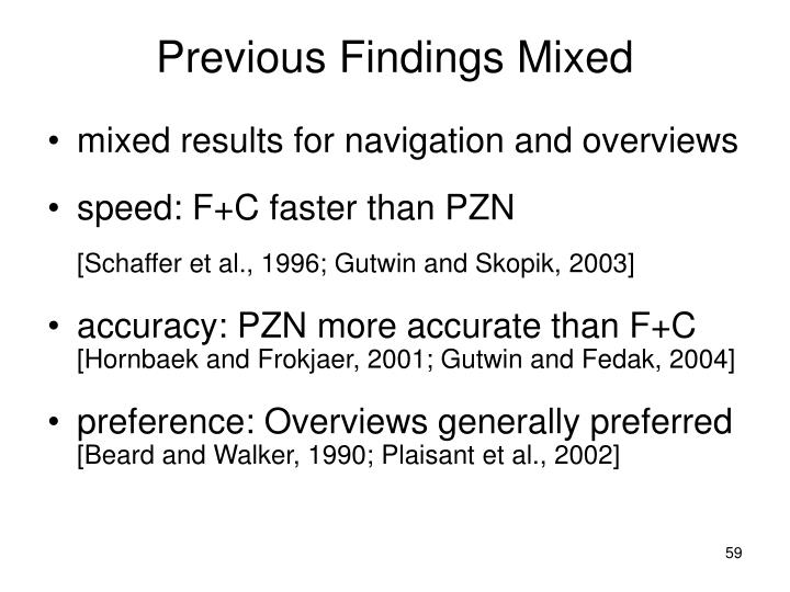 Previous Findings Mixed