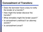 concealment of transfers
