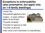 exceptions to enforceability also preemptive but apply only on 1 4 family dwellings