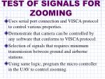 test of signals for zooming