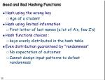 good and bad hashing functions