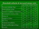 household cutbacks increased energy costs