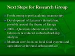 next steps for research group