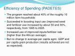efficiency of spending padetes