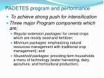 padetes program and performance