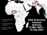 wild poliovirus infected districts 19 mar 2007 18 sep 2007