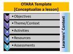 otara template conceptualize a lesson