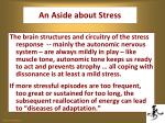 an aside about stress